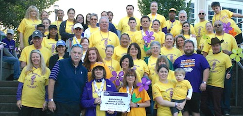 Brookdale associates from the headquarters office in Brentwood, TN, pose for a photo in 2017 during the Walk to End Alzheimer's.