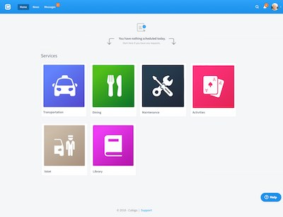 "This Cubigo home screen has ""cubes"" for transportation, dining, maintenance, activities, valet and library."