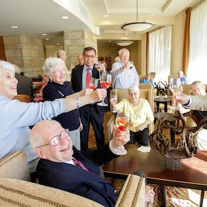 Residents of Brazos Towers at Bayou Manor in Houston toasted residents of Eastwyck Village in New York at a recent virtual event.