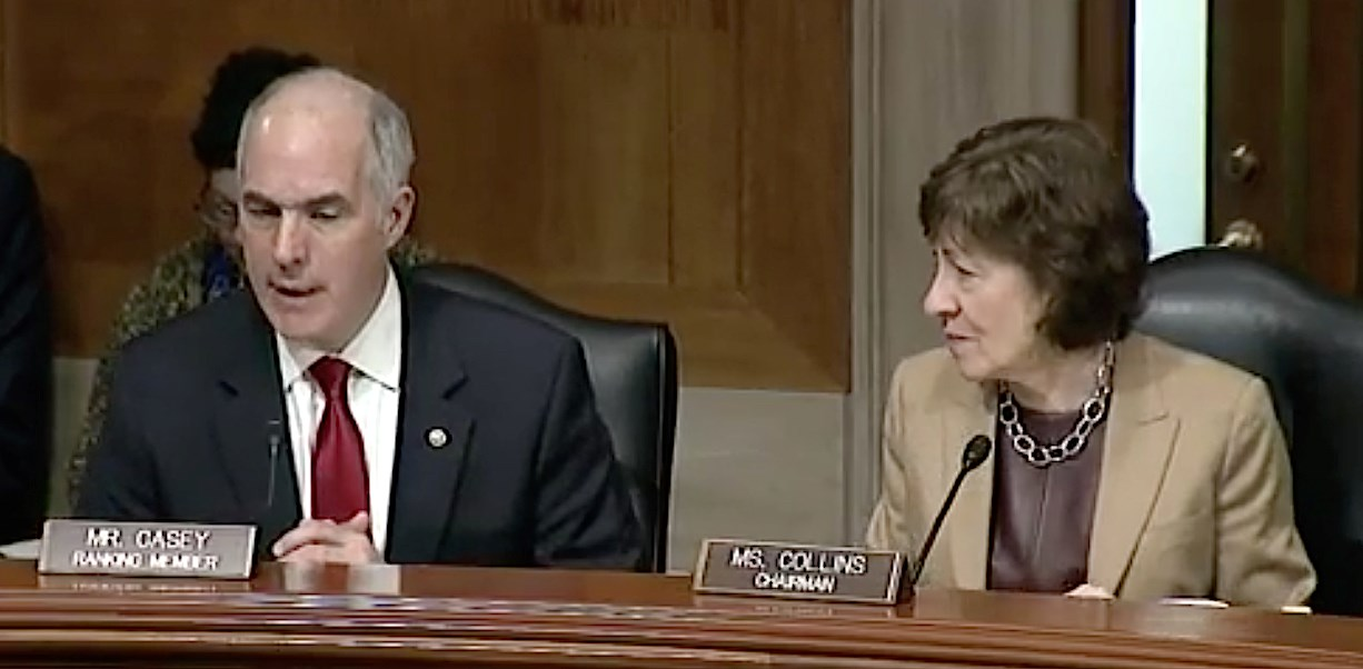 Sens. Bob Casey (D-PA) and Susan Collins (R-ME) speak at an April 18 hearing of the Senate Special Committee on Aging.