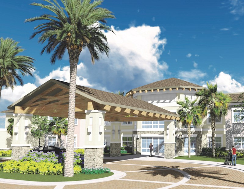 An artist's rendering depicts the planned exterior of YourLife Coconut Creek.