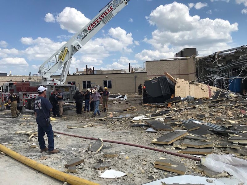 """Damage in the area of construction is """"catastrophic,"""" said Coryell Memorial Health System CEO David Byrom. Photo: Belton Police Department."""