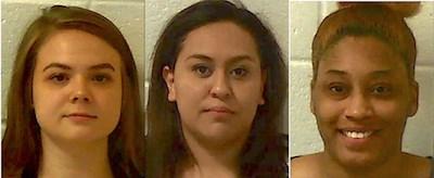 From left: Jorden Lanah Bruce, Lizeth Jocelyn Cervantes Ramirez and Mya Janai Moss (Jackson County Sheriff's Office)